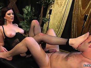 Busty mistress in lingerie fucks man