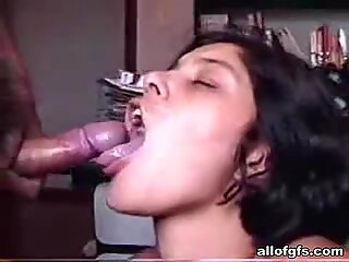 This horny brunette loves to eat cum
