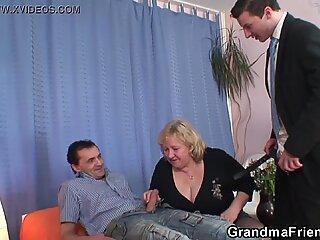Große Brüste Alte Großmutter-Doppel-Penetration